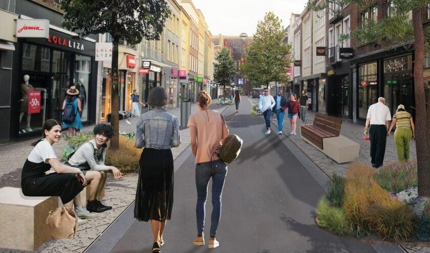 <p>Artist Impression van de Demer na de herinrichting met het nieuwe straatmeubilair.&nbsp;</p>