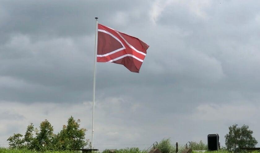 <p>De nieuwe vlag van de Liemers in volle glorie.</p>
