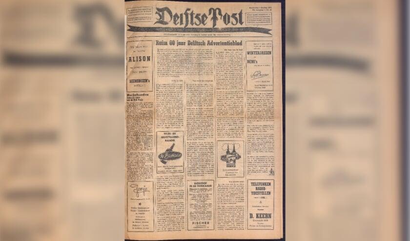 I n 1954 werd het Delftsch Advertentieblad de Delftse Post.