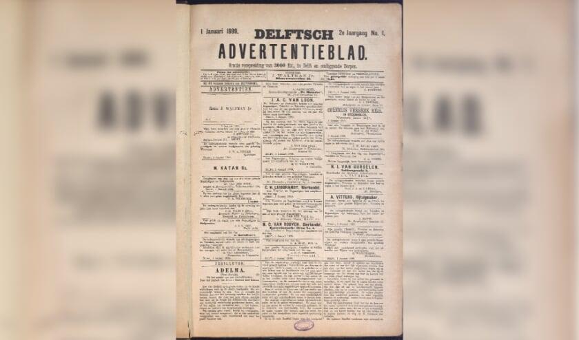 <p>Een oud exemplaar van het Delftsche Advertentieblad, met dank aan het stadsarchief.&nbsp;</p>