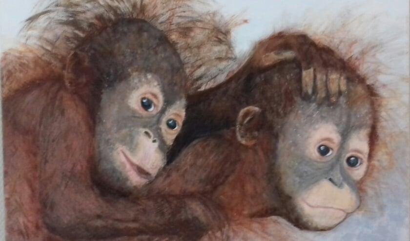 <p>Een schilderij van twee orang-oetangs gemaakt door Riky Rothengatter van de Kreatieve Kring Westervoort.</p>