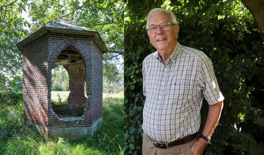 <p>Links op foto het Koepeltje dat groene meester Van Zijll, rechts op de foto, graag zou restaureren.</p>
