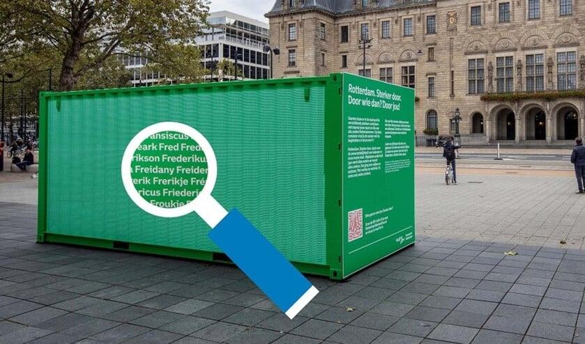 <p>Containers met alle 123.000 unieke voornamen. Foto: Gemeente</p>