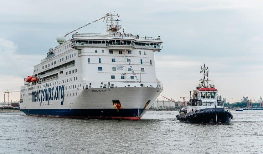 <p>Het nieuwste ziekenhuisschip Global Mercy komt in februari 2022 voor en 14-daags bezoek aan Rotterdam. Foto: pr</p>