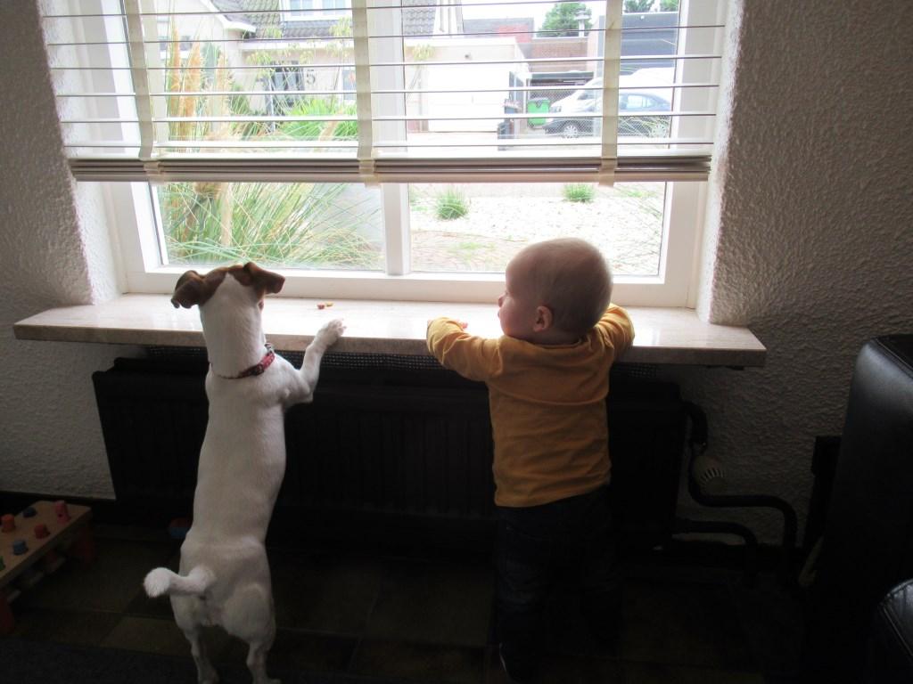 Lex en Floortje samen gezellig naar buiten kijken! (Els Ketelaars)  © deMooiLaarbeekkrant