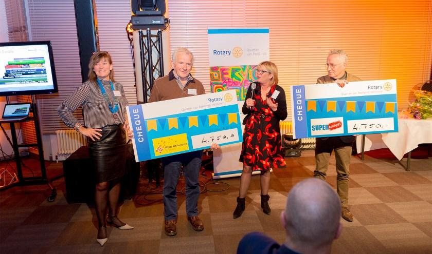 Giel van Genuchten (Stg. Wensambulance Brabant) en Joop van Stiphout (SuperSociaal) nemen de cheques in ontvangst van Rotary Quartier van Peellandt   | Fotonummer: 353113