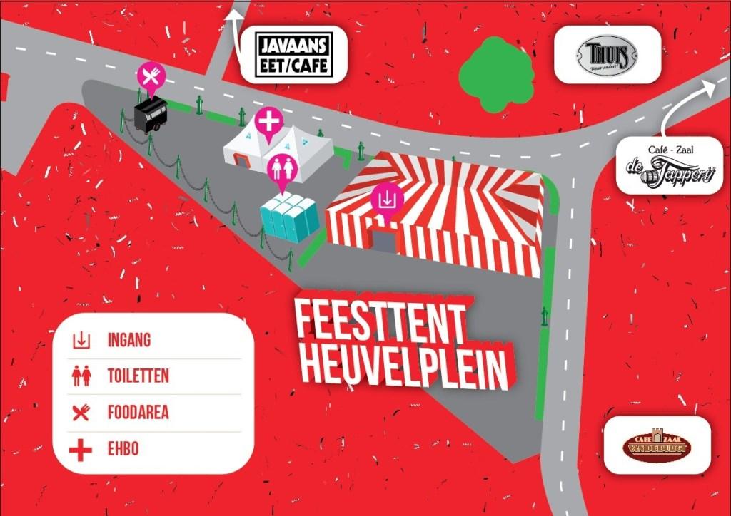 Het feestterrein op het Heuvelplein  © deMooiLaarbeekkrant