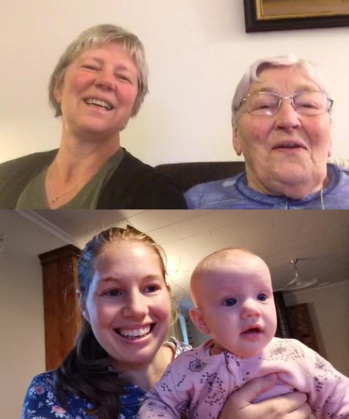 Boven: Francee (l) en Lena (r). Onder: Kim, met Sara in haar handen
