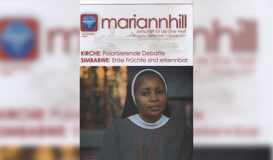 De cover van het missietijdschrift, met daarop de foto van Zr. Sandra