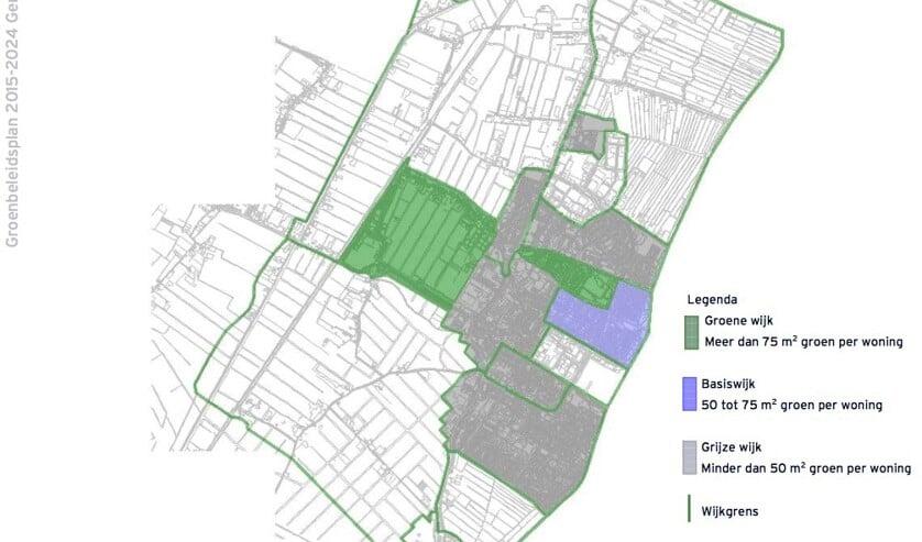 Slechts twee wijken in Hillegom voldoen aan de norm voor Groene wijk.   Foto: groenbeleidsplan 2015-2024