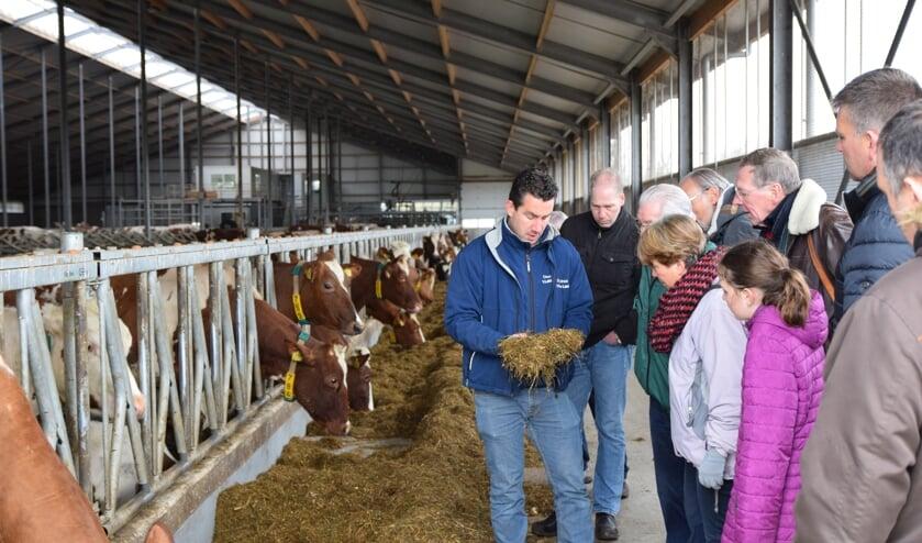 Veehouder Maries Roest  vertelt dat het voer van volwassen koeien bestaat uit een mix van onder andere gras, bloembollen en mais.