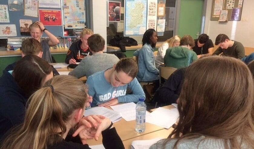 Leerlingen van H4C van het Rijnlands Lyceum interviewen hun internationale leeftijdsgenoten. | Foto M. Spierings