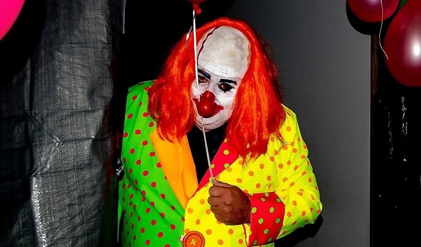 Een horrorclown in het spookhuis aan de Rietschans 67.