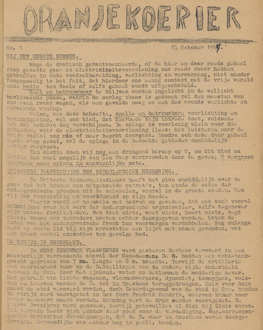 De eerste pagina van de eerste Oranjekoerier van 24 oktober 1944. | Foto: Delpher.nl