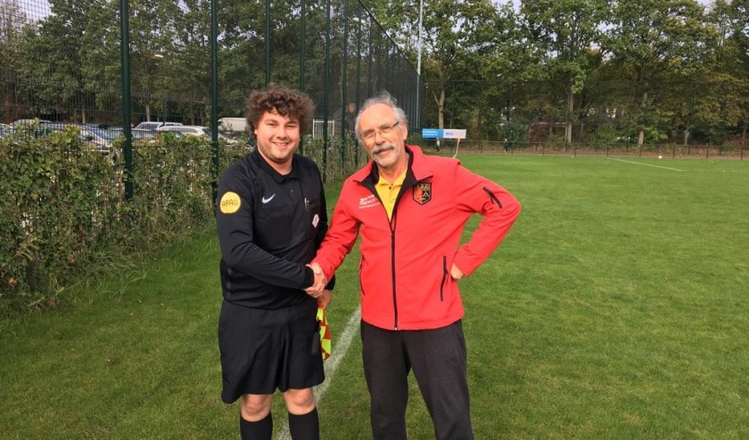 Daan met zijn praktijkbegeleider en  gerenommeerd en zeer gewaardeerd wedstrijdsecretaris bij ASC Edward Heitmeijer.