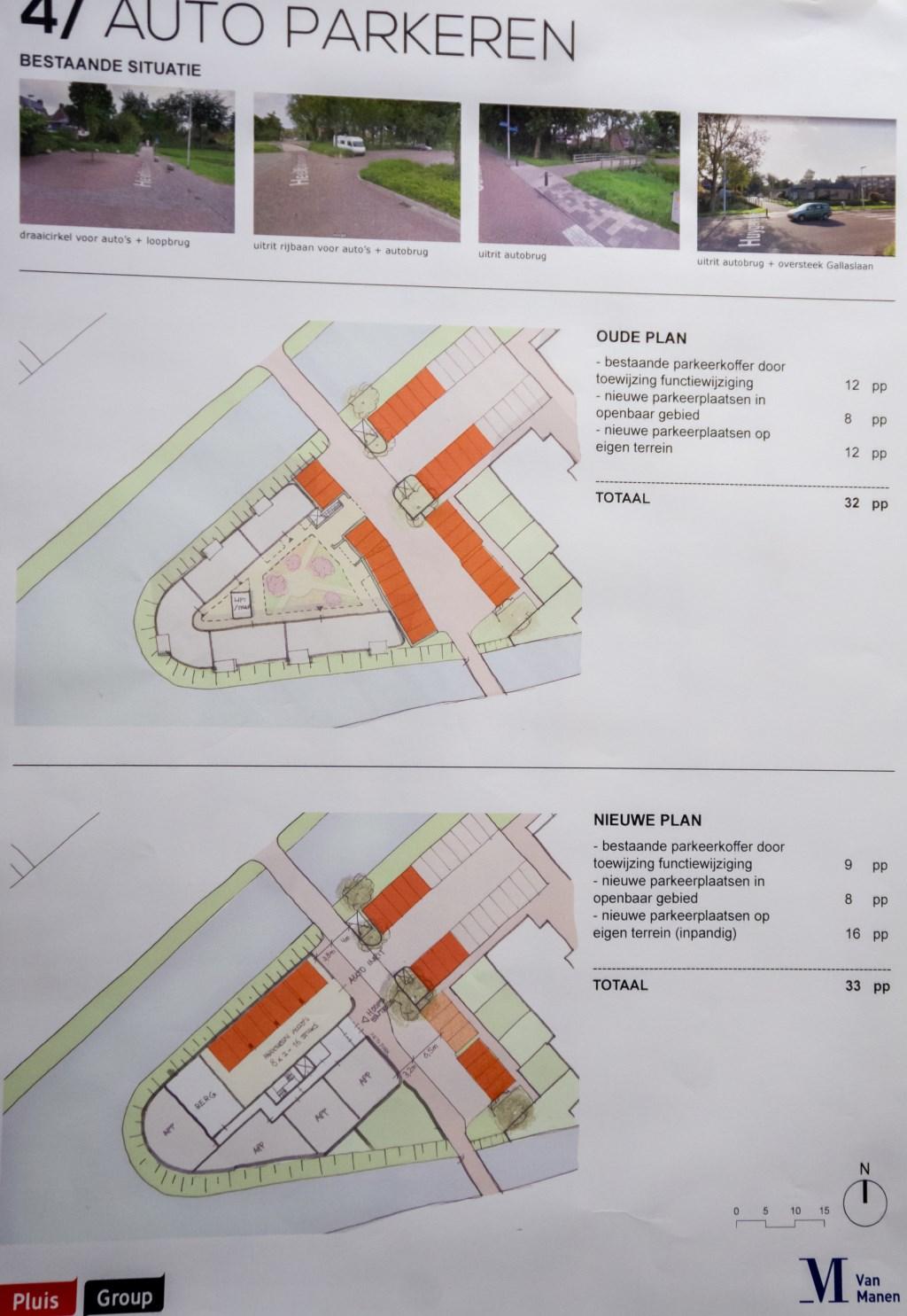 De parkeersituatie in het oude en in het nieuwe schetsplan. Foto: Johan Kranenburg © uitgeverij Verhagen