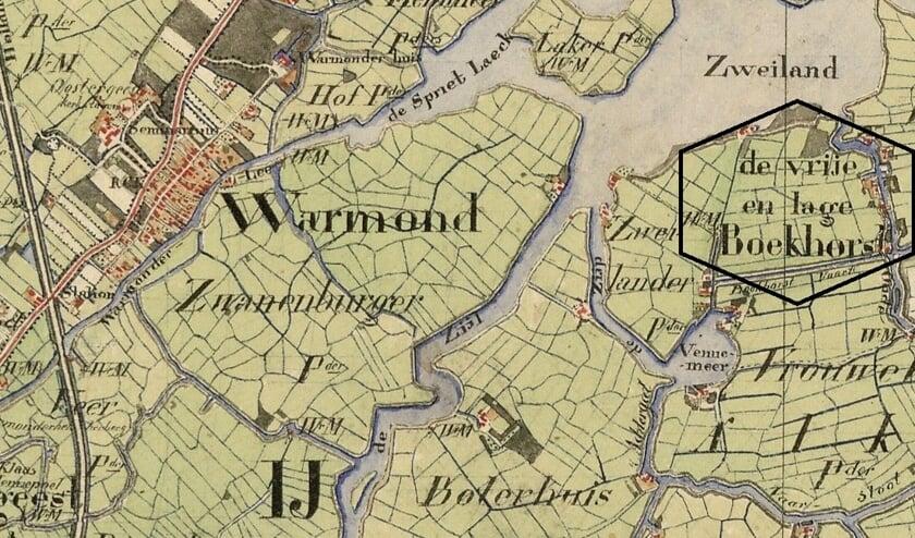 Fragment uit een kaart uit 1850-1851 van de Vrije en Lage Boekhorst. | Foto: Nationaal Archief