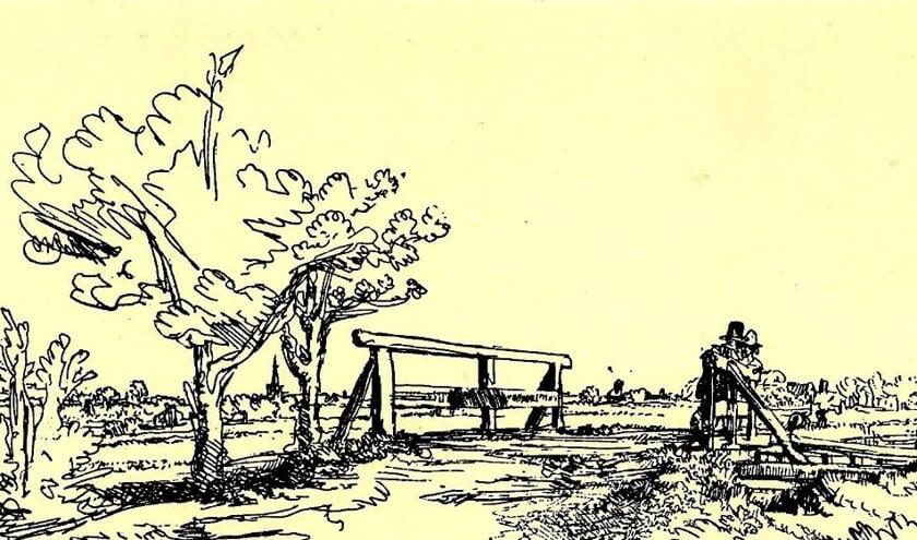 Het bruggetje van Six, getekend door Rembrandt in 1645. De foto komt uit het eerste Nieuwsblad van Oud Lisse uit 2002.