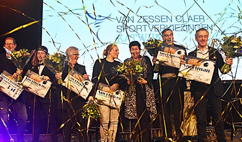 de winnaars van de Sportverkiezingen 2018 bij elkaar op het podium. | Foto: Piet van Kampen