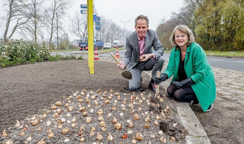 Bart Siemerink en Lies Spruit leggen de laatste hand aan de beplanting van de rotonde.