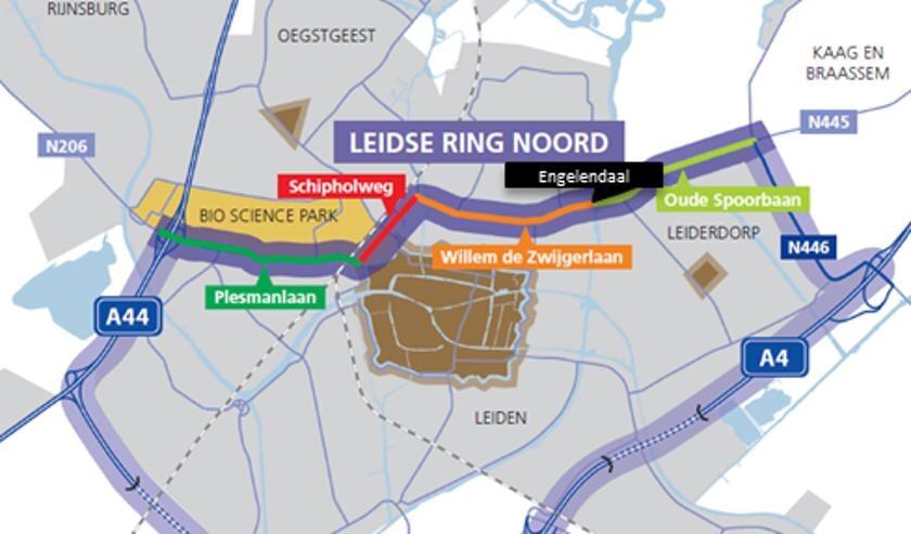 De ringweg rond Leiden en Leiderdorp met bovenaan het deel dat de Leidse Ring Noord vormt.