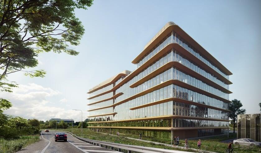 Het nieuwe Nederlandse hoofdkantoor van Galapagos wordt een eyecatcher en zal zich nadrukkelijk presenteren aan de A44 met een spectaculair atrium. | Bron Provast