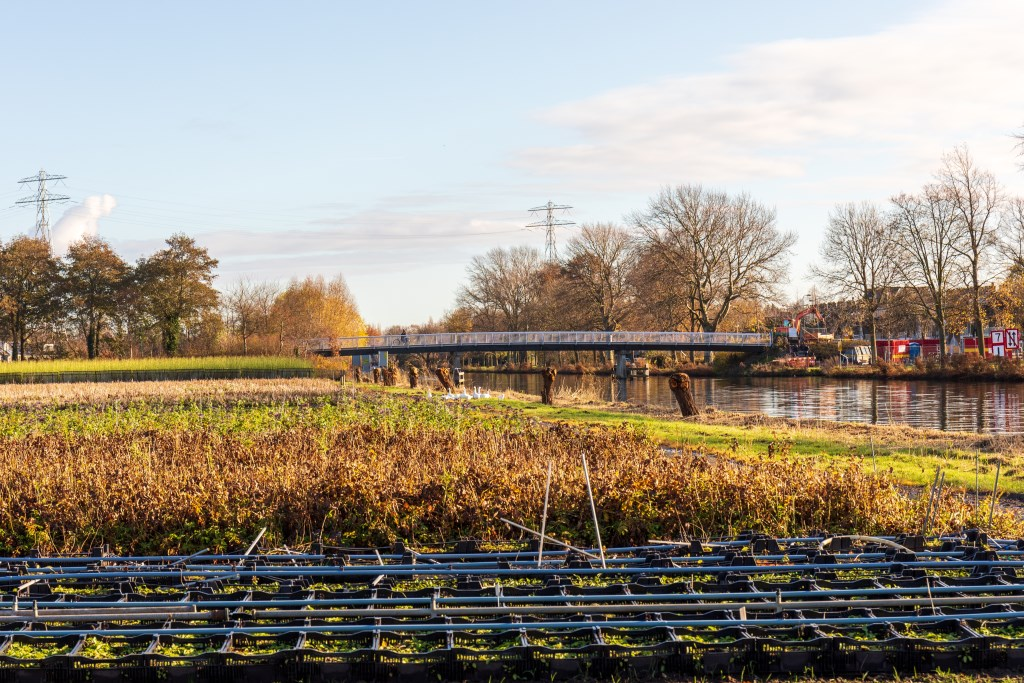 De Jan Hendrik Oortbrug als onderdeel van het landschap. Foto: Wil van Elk © uitgeverij Verhagen