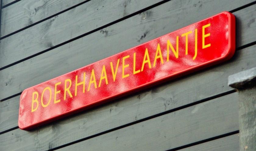 Het straatnaambordje van het Boerhaavelaantje werd onthuld door dorpsmarketeer Marjolijn van der Jagt, waarmee ook op Oud-Poelgeest het Boerhaavejaar werd afgesloten.