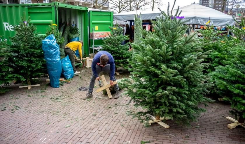 Bij het verkooppunt op het Statendaalderplein worden kerstbomen voorzien van een voet. | Foto: J.P. Kranenbug