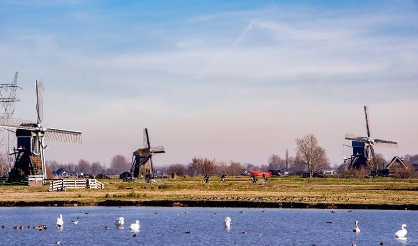 <p>De fietsroute zal ongetwijfeld leiden langs de molens in de Munnikkenpolder.   Foto: J.P. Kranenburg</p>