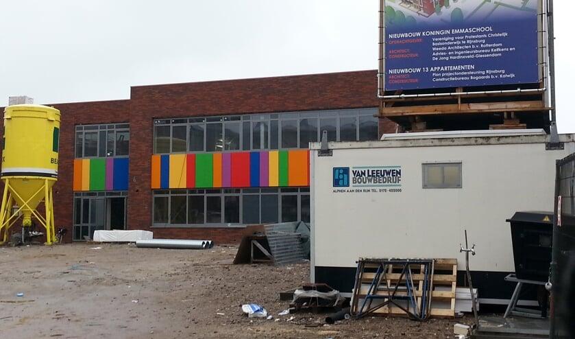 Nieuwbouw Emmaschool in Rijnsburg, waar zowel een school als woningen worden gebouwd.