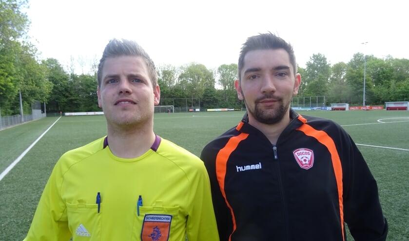 Stefan van der Weijden en Guido Scholtes, DoCoS-begeleiding jeugdscheidsrechters (Bron: DoCoS/pr/eigen foto)