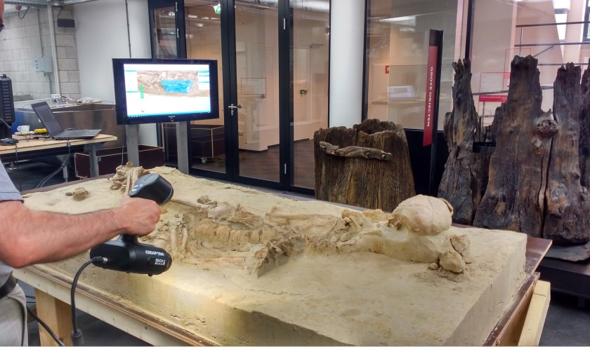 3D-scan van zevende-eeuws skelet gevonden aan de Plesmanlaan in Leiden.