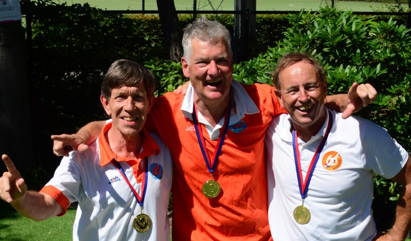 De Alecto superveteranen die uitkwamen in Oranje 65+, v.l.n.r. Carl Adamse, Job Gerritsen en Diederik Klop.
