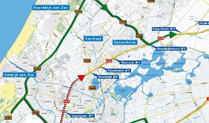 Op de A44 zijn tussen Leiden en Noordwijk  dit weekend werkzaamheden. De weg is daarom afgesloten. | Kaart: Rijkswaterstaat