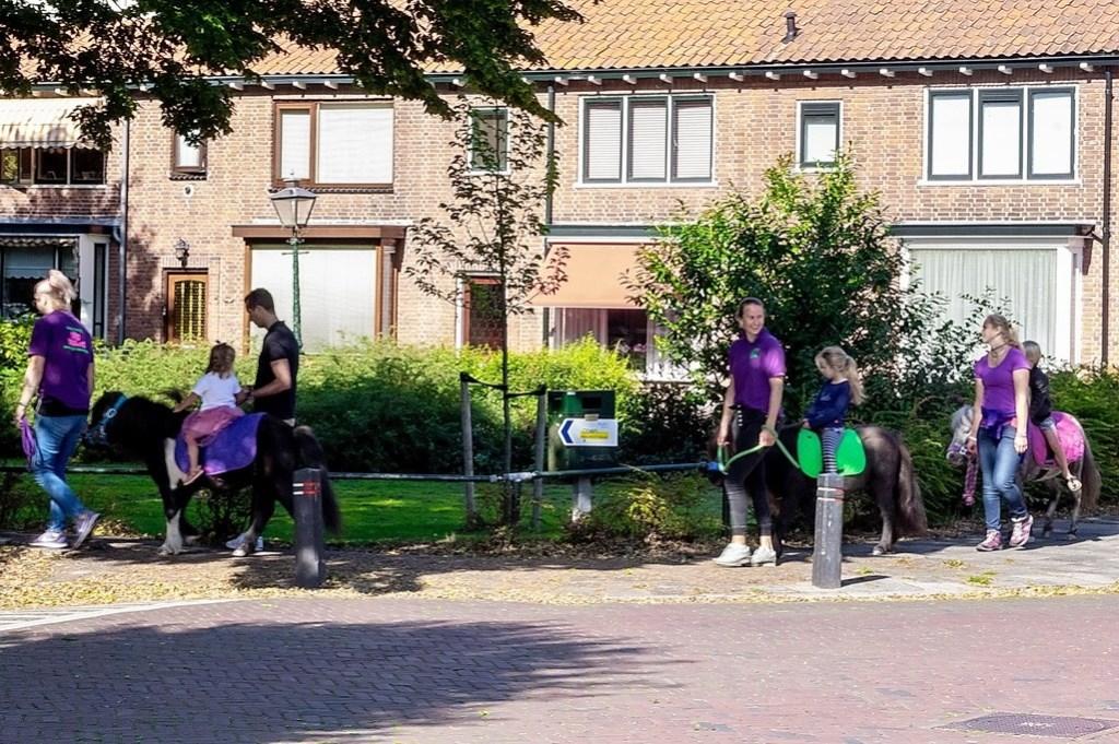Op het grasveld aan de Eikenlaan konden kinderen een ritje op een pony maken.  Foto: J.P.Kranenburg © uitgeverij Verhagen
