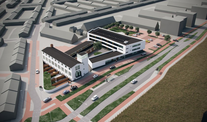 Visserijschool wordt verbouwd en daarnaast komt een nieuw appartementengebouw. | Foto: HVE Architecten
