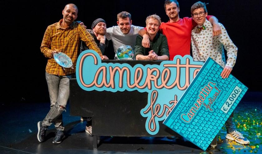 De finalisten van het Camerettenfestival. Henk Overdijk, Tobi Kooiman enRemy Evers komen naar Floralis.