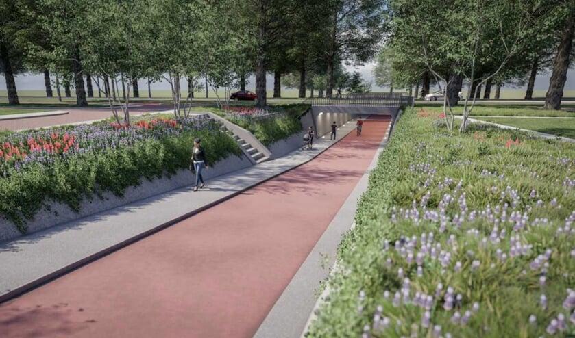 Impressie van het toekomstige fiets en voetgangerstunneltje.   Foto: Gemeente Katwijk