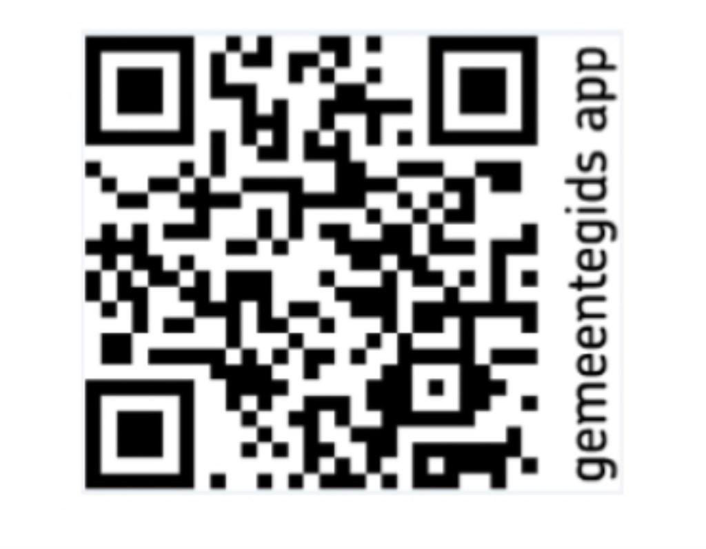 Via deze QR-code kun je de Gemeentegids App downloaden.  © uitgeverij Verhagen
