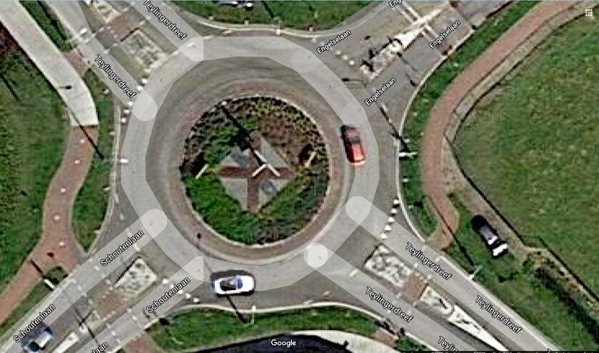 Het gemeentewapen op het verkeersplein.   Foto: pr./Google Maps