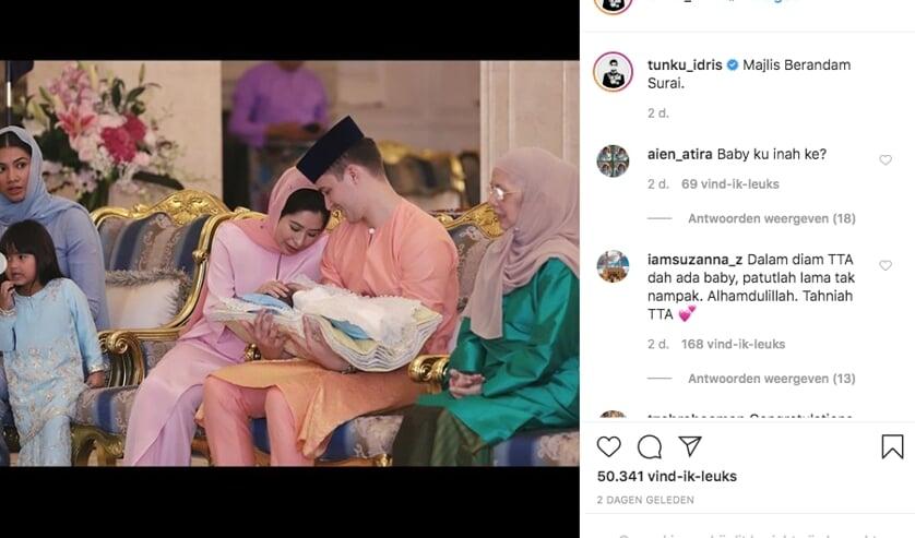 Plaatje van het Instagramaccount van een familielid van prinses Tunku Aminah.
