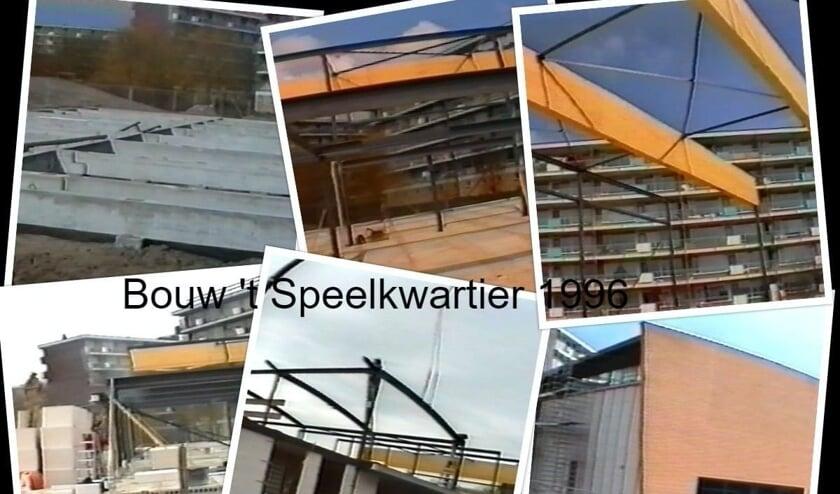 Fotocollage die de bouw van Da Capo's repetitieruimte 't Speelkwartier aan de Hannie Schaftlaan weergeeft.