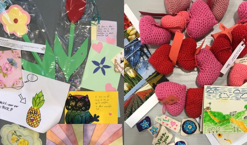 Voorbeelden van knutselwerkjes, brieven en kaarten die inmiddels zijn bezorgd.