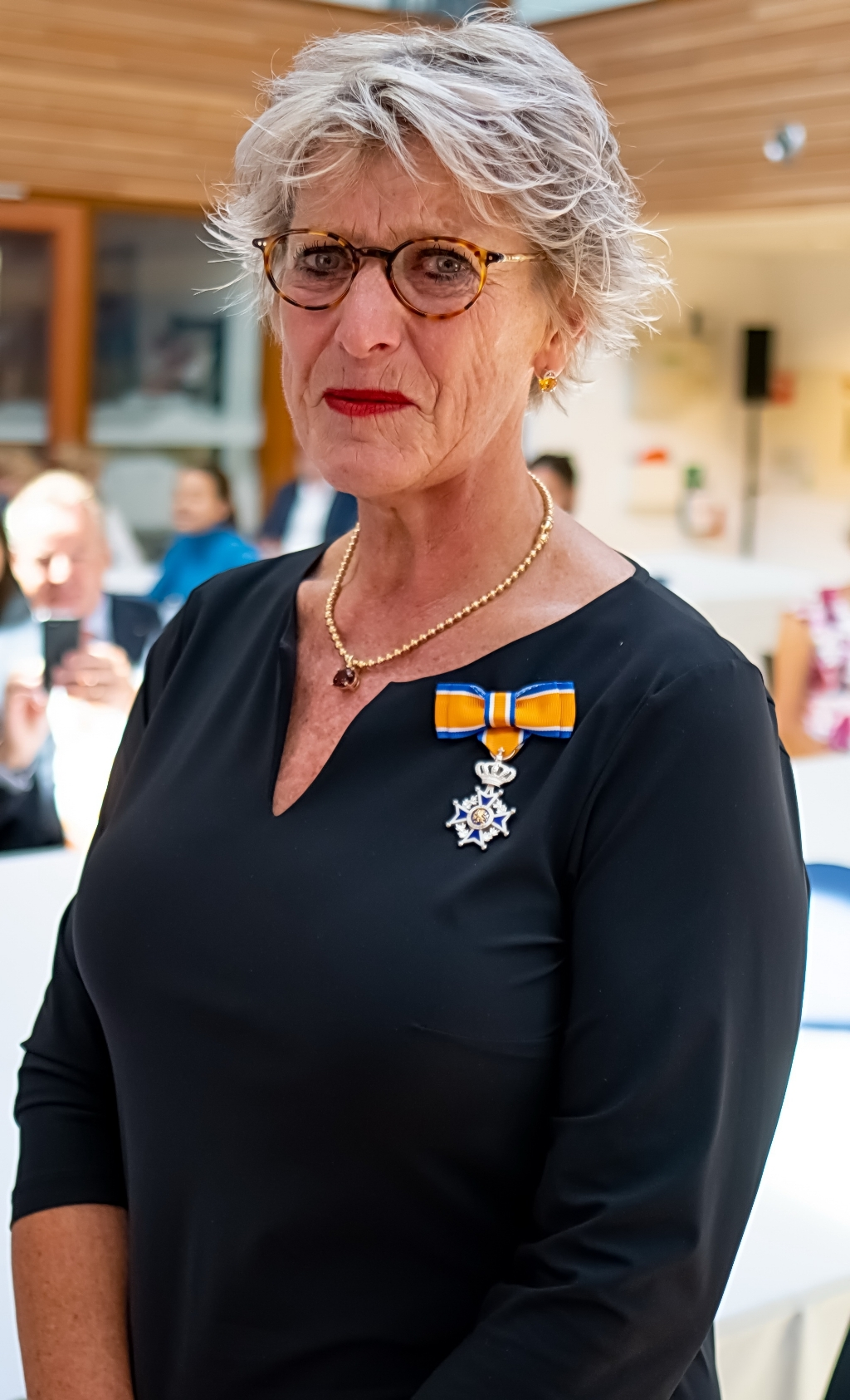 Rina Cooijmans, Lid in de Orde van Oranje Nassau.  Foto: J.P.Kranenburg © uitgeverij Verhagen