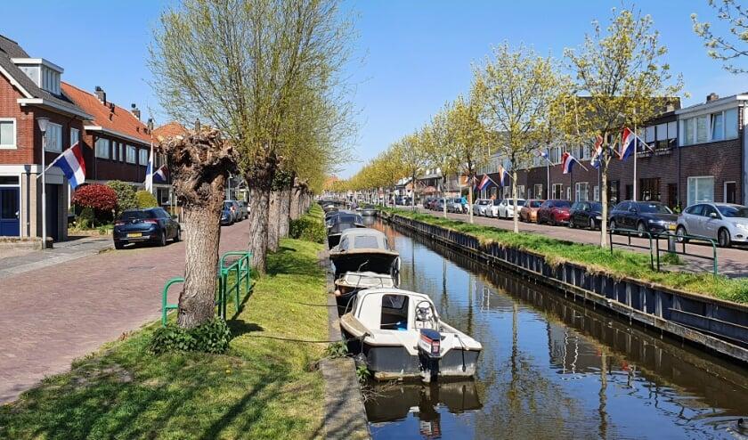 De Postwijkkade (links) en de Zandslootkade gezien vanaf de Oude Post brug aan de Hoofdstraat.