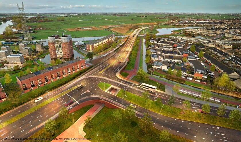 <p>Vogelvlucht fotomontage van het nieuwe kruispunt Engelendaal-Oude Spoorbaan. ( Artist impression Gemeente Leiderdorp, Antea Group, JAM* architecten, foto: Kees Hummel)</p>