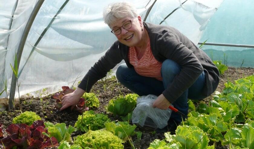 <p>Simone met de eerste oogst op de nieuwe locatie.   Foto: pr.</p>