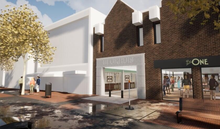 <p>Winkelcentrum Blokhuis wordt gemoderniseerd. Ook dat moet leegstand tegengaan. Dit is een impressie van de nieuwe ingang aan de Kanaalstraat.</p>