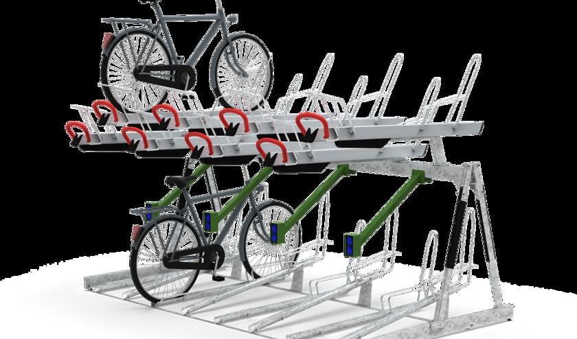 <p>Een artist impression van het nieuwe fietsenrek met gelegenheid voor opladen en ruimte voor bijvoorbeeld een krat of kinderzitje.&nbsp;</p>